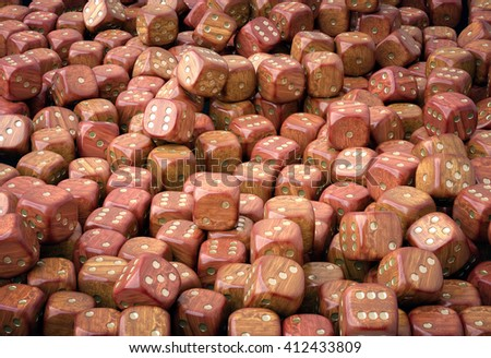 Wooden dice. Heap of many wooden dice, 3D illustration - stock photo