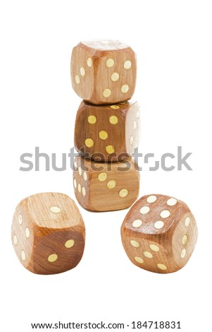 Wooden dices, large DOF - stock photo