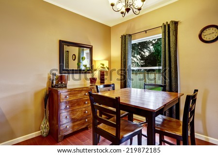 Wooden dining table set with cabinet and mirror