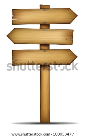 Wooden direction arrow sign with pole as an old western theme wood and weathered woodgrain for communication as an element of choice and solutions with a blank area for text on a white background. - stock photo