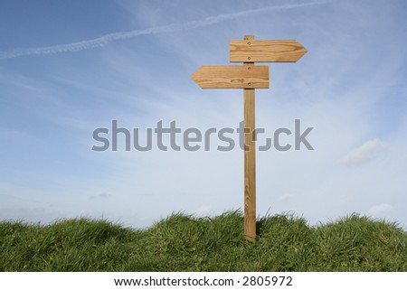 Wooden direction sign in grass, clipping path included - stock photo