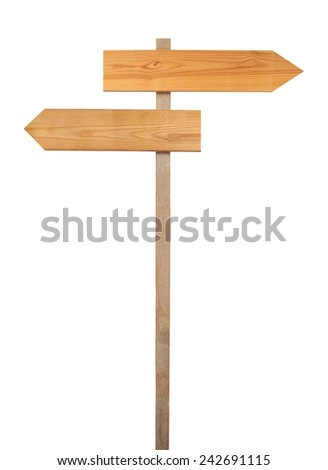 Wooden direction sign isolated on white background - stock photo