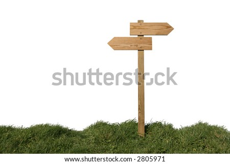 Wooden direction sign isolated on white, clipping path included - stock photo