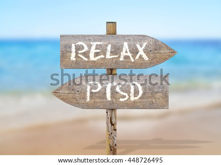 Wooden direction sign with relax and ptsd - stock photo