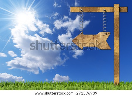 Wooden Directional Sign - One Arrow with Chain. Wooden directional sign with one empty arrow hanging with metal chain on a wooden pole on blue sky with clouds, sun rays and green grass - stock photo