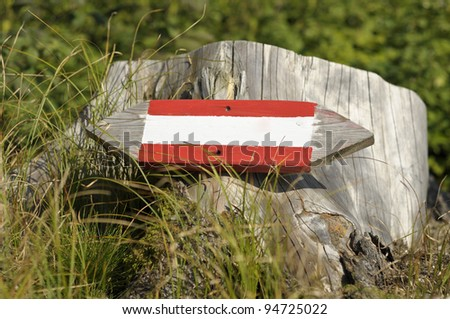 Wooden directional sign pointing to the right - stock photo