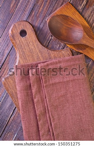 wooden dishware - stock photo