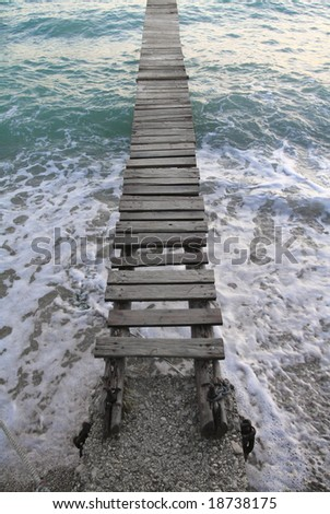 Wooden Dock at the Sea - stock photo