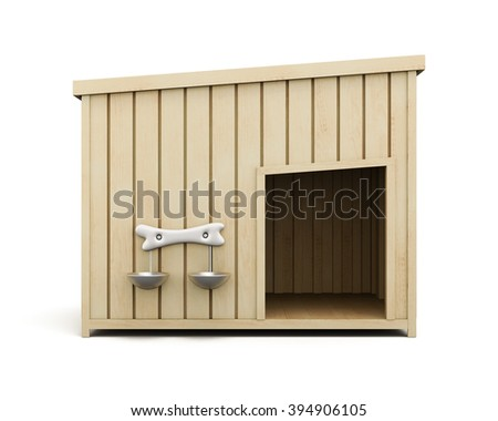 Wooden dog house isolated on a white background. Front view. 3d rendering. - stock photo