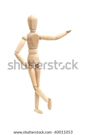 Wooden doll showing product, space to insert text or design
