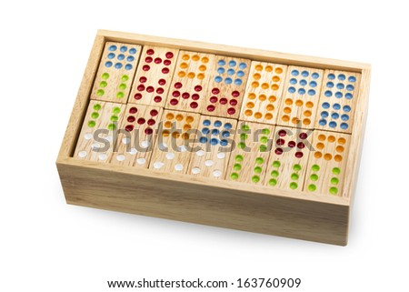 Wooden Domino in wooden box - stock photo