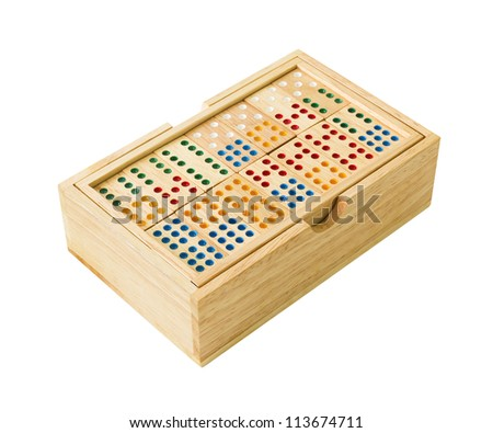Wooden Domino in wooden box  isolated on white with a clipping path. - stock photo