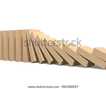 Wooden dominoes falling, isolated on white background. - stock photo