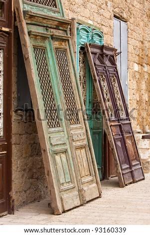 wooden door - stock photo