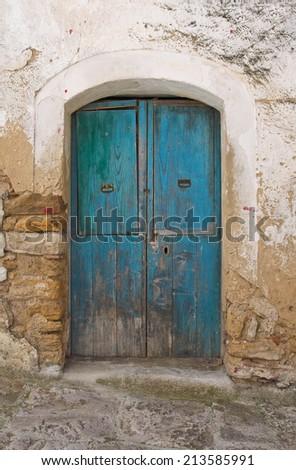 Wooden door. Acerenza. Basilicata. Italy. - stock photo