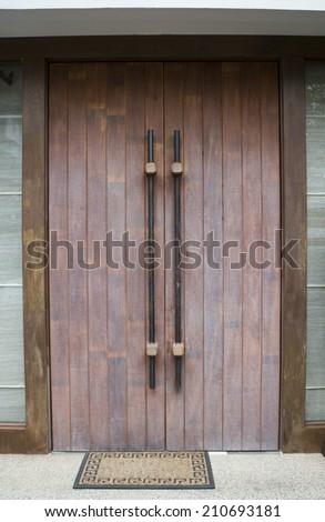 Wooden door at the entrance