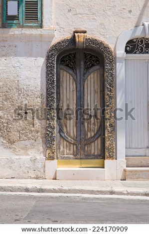 Wooden door. Fasano. Puglia. Italy. - stock photo