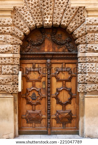 Wooden door from the old part of Aix en Provence, France - stock photo