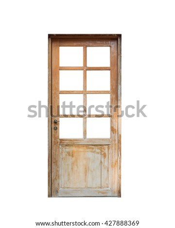 Wooden door front house, isolated,object - stock photo