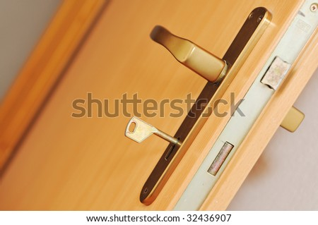 wooden door handle at home indoor representing secure and safety concept - stock photo