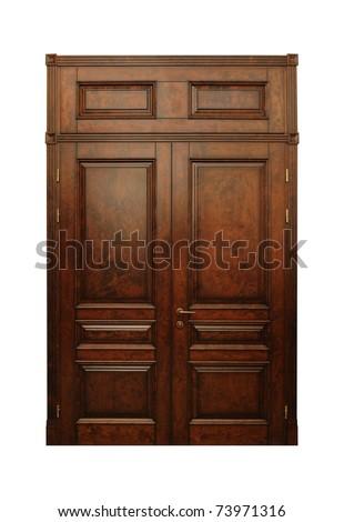 wooden door isolated on white - stock photo
