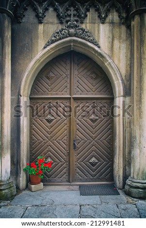 wooden door medieval retro background - stock photo