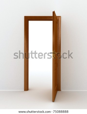 wooden door over white background. computer generated image - stock photo