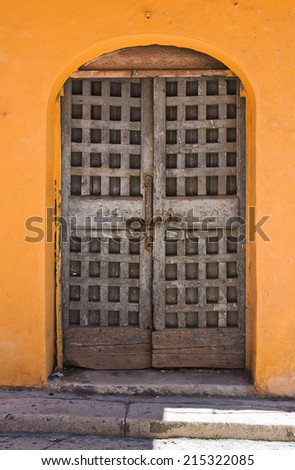 Wooden door. San Severo. Puglia. Italy. - stock photo