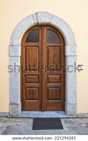 Wooden door. Viggianello. Basilicata. Italy. - stock photo