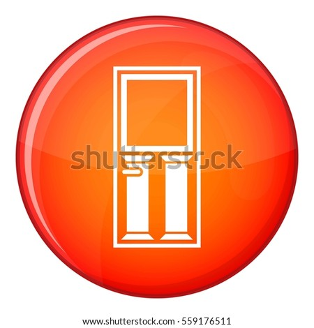 Wooden door with glass icon in red circle isolated on white background  illustration