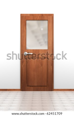 Wooden door with opaque glass window, tiled floor and white wall - stock photo