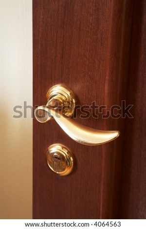 Wooden door with the new brilliant lock - stock photo