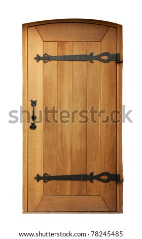 wooden door with wrought iron elements isolated on white background - stock photo