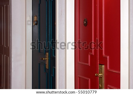 Wooden doors with the brass handles, painted different colours