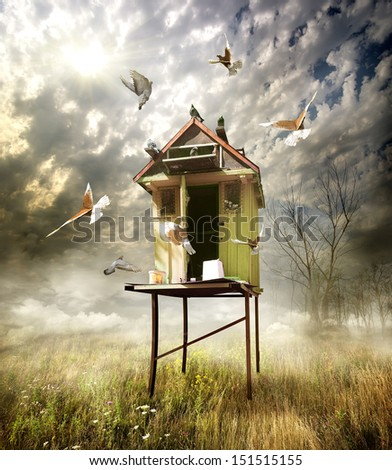 Wooden dovecote in the field in cloudy day - stock photo
