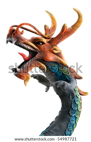 Wooden dragon with open mouth and horn on white background - stock photo