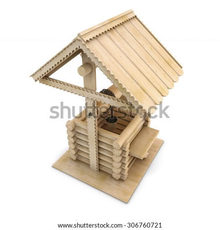 Wooden draw-well with bucket on a white. 3d render image. - stock photo