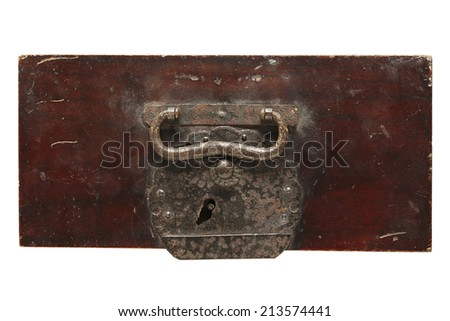 Wooden drawer lid isolated on white background - stock photo