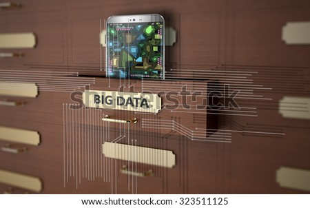 Wooden drawers on topic Big data - stock photo