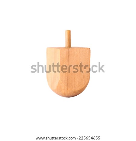 wooden dreidel (spinning top) for hanukkah jewish holiday isolated on white