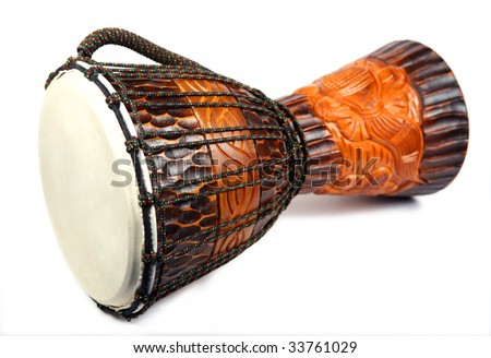 Wooden drum on a white background - stock photo