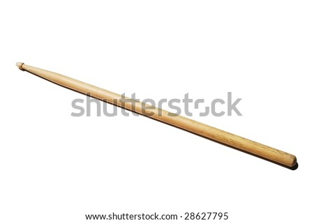 wooden drum stick on white background - stock photo
