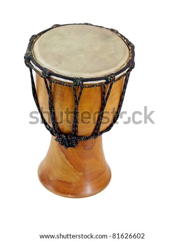 Wooden dumbek drum with a skin head isolated on white - stock photo