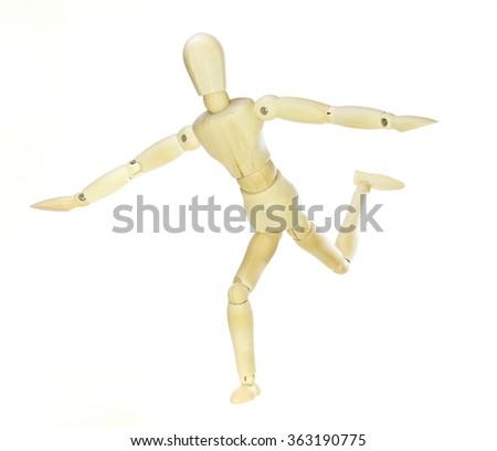 Wooden dummy - balance (isolated on white background) - stock photo
