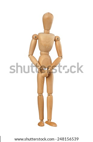 Wooden dummy covers his private parts with his hands. on white background - stock photo