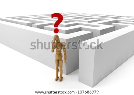 Wooden dummy in labyrinth with red query mark