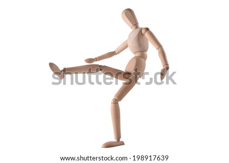 Wooden Dummy Isolated Over White Background with clipping path (play football)