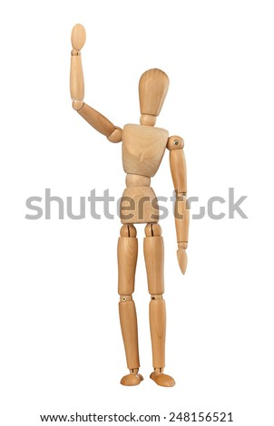 Wooden dummy man waving hello on white background - stock photo