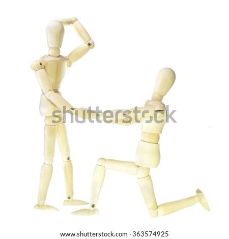 Wooden dummy - proposal (isolated on white background) - stock photo