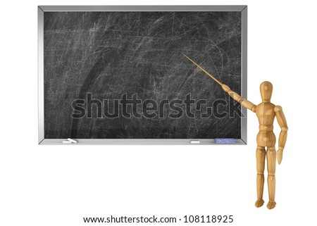 Wooden Dummy with school blackboard on a white background - stock photo